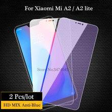 2pcs Tempered Glass For Xiaomi Mi A3 A2 lite Screen Protector Anti blue light Glass For Xiaomi Mi A2 A3 lite Protective Film mi a2 4 64 blue