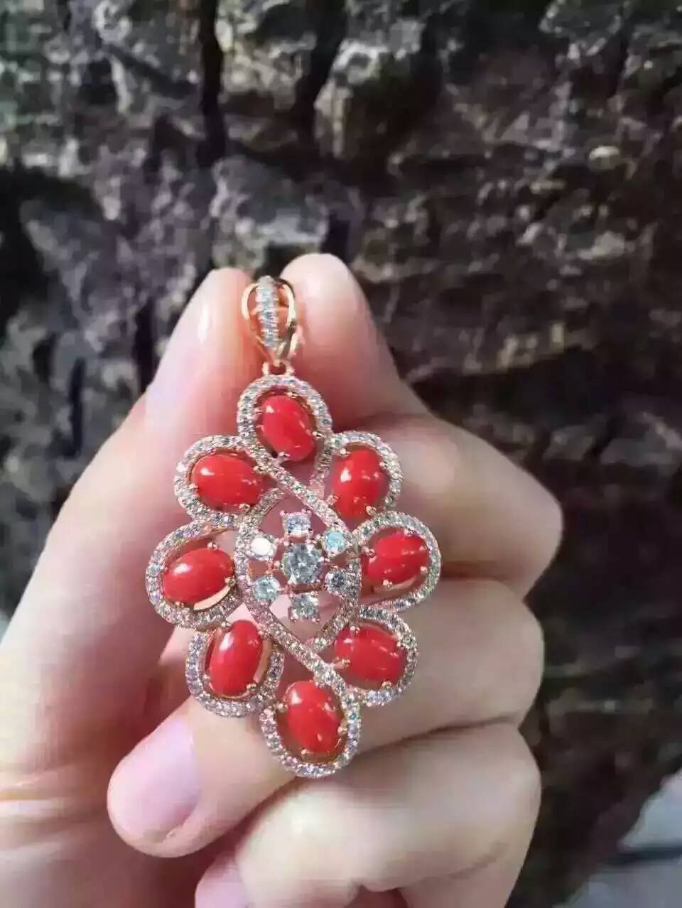 natural red precious coral pendant S925 silver Natural gemstone Pendant Necklace trendy Luxury round string women fine jewelrynatural red precious coral pendant S925 silver Natural gemstone Pendant Necklace trendy Luxury round string women fine jewelry