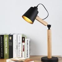 QUKAU Modern office bedroom decoration E27 socket desk lamp Nordic creative study wooden table lamp