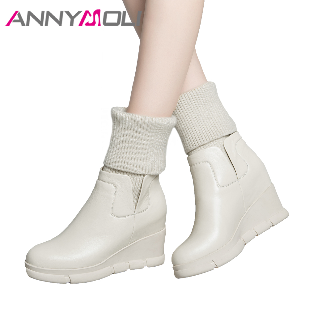 ANNYMOLI Women Real Leather Boots Winter Platform Wedge Mid Calf Boots Fashion Sock Boots Female Genuine Leather Shoes Beige wedge heel faux suede mid calf sock boots