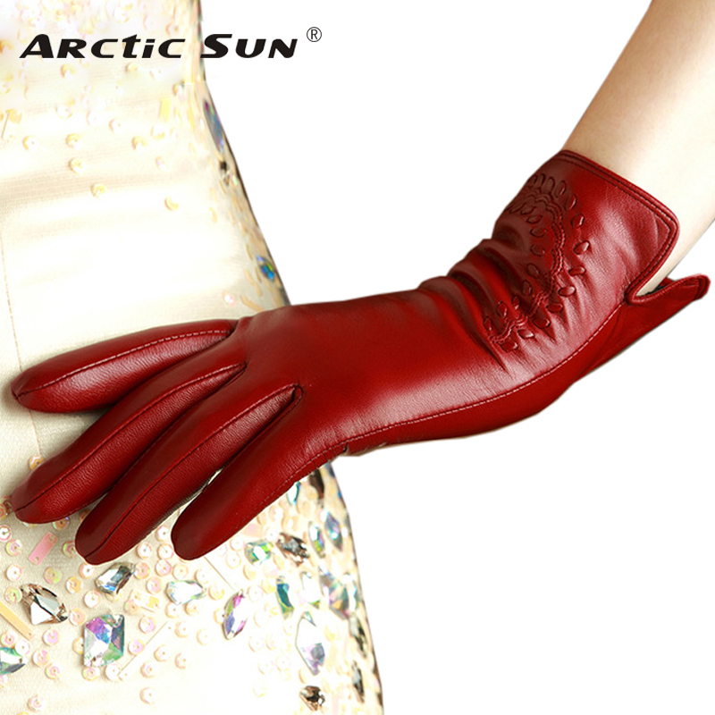 KLSS Brand Genuine Leather Women Gloves High Quality Goatskin Gloves Autumn Winter Elegant Sheepskin Gloves Female 2303