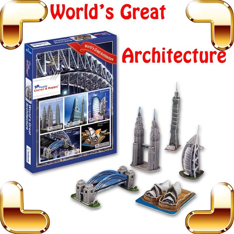 Nouveau monde de cadeau à venir grand bâtiment 3D Puzzle célèbre bâtiment Structure bricolage amusant jeu d'apprentissage pour les enfants améliorer IQ cerveau PUZ