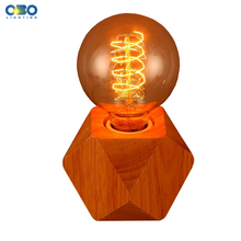 Simple Wood Diamond Shape Table Lamp Study/Bedroom/Bedside Rural Style Lighting E27 110-240V Free Shipping wood robot shape modern decoration table lamp study desk light bedroom bedside lighting e27 110 240v free shipping