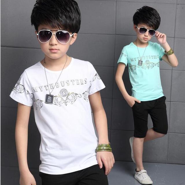 De Manga curta O-pescoço T-shirt Do Menino Clássico O-neckFashionable Roupas Infantis Menino Da Novidade Roupas de Verão Para Meninos