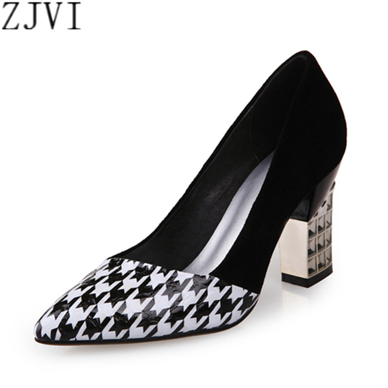 ФОТО ZJVI woman pointed toe black Thick high heels pumps women mixed colors summer autumn shoes fashion womens women's work Pumps