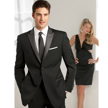 Black slim men wedding suits fashion two-piece the groomsman/groom wedding party suits handsome the groom wedding suits