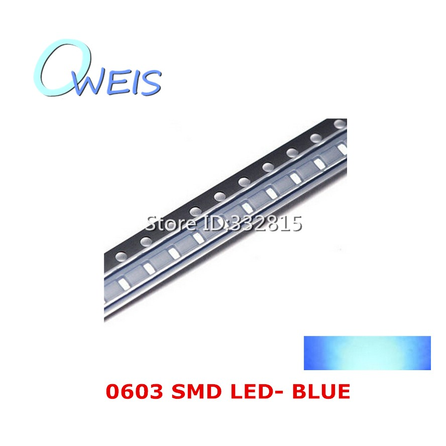 50PCS 0603 super bright BLUE SMD LED 1608 1.6*0.8mm 0603 BLUE indicator light emitting diode light beads lamp FREE SHIPPING