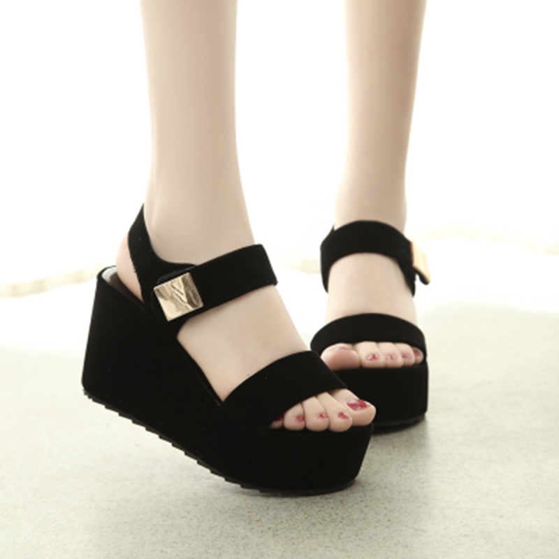 new fashion women wedges sandals peep toe ankle strap ladies sandals(China)