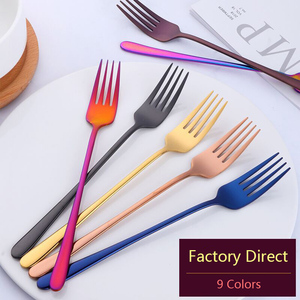 18/8 Stainless Steel Dinner Fork Korea Colourful Dessert Fork Long Handle Gold Blue Black Fork Set for Hotel Party Drop Shipping(China)
