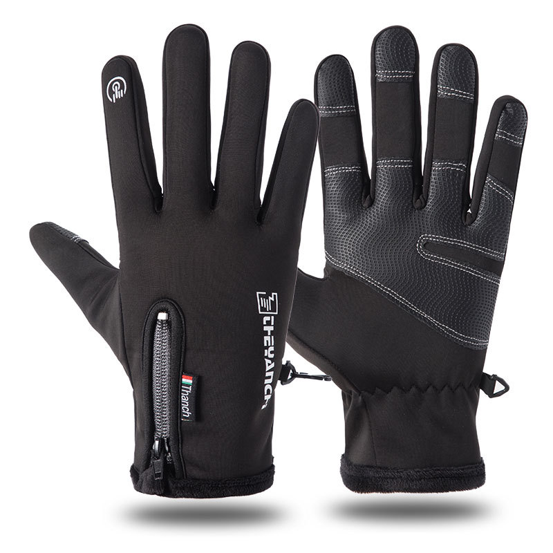 Men Women Sports Fitness Non-slip Cycling Gloves Winter Plus Plush Thick Warm Touch Screen Motorcycle Zipper Ski Glove C57