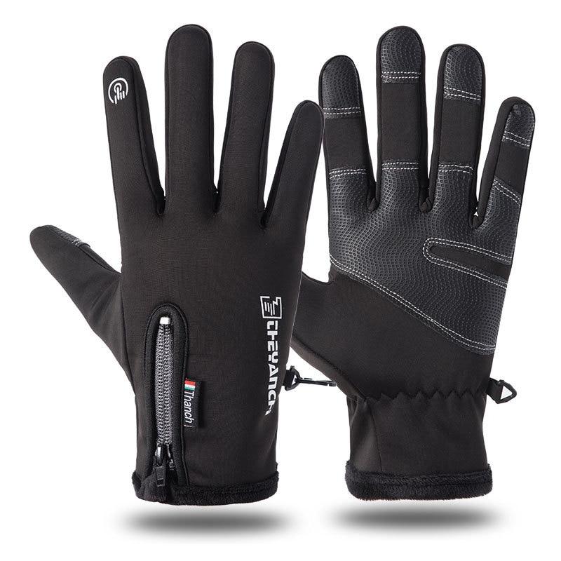 Men Women Sports Fitness Non-slip Cycling Gloves Winter Plus Plush Thick Warm Touch Screen Motorcycle Zipper Ski Glove C57