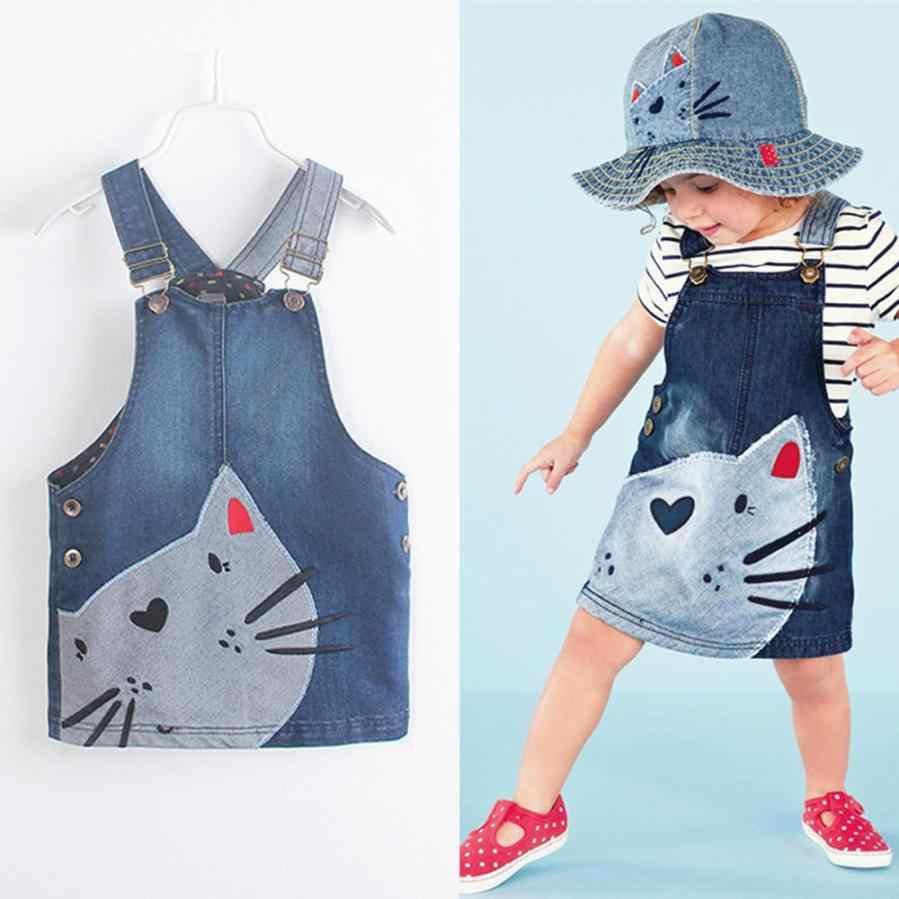 Милый джинсовый сарафан на бретельках для маленьких девочек, платье с принтом, одежда, Прямая поставка, новинка 15 августа