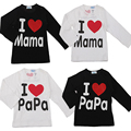 Bebé largo de la manga de las muchachas de la camiseta! verano nueva carta de algodón 100% impreso newborn infant tops tees, I Love mama & papa