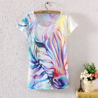 New 2014 Fashion Vintage Spring Summer Women Lady Girl Short Sleeve Horse Graphic Printed T Shirt
