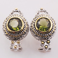 Simulated Emerald Woman 925 Sterling Silver Crystal Earrings TE473