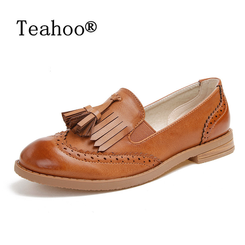 Autumn Brogue Shoes Woman Casual Oxford Flats Shoes Lace Up Moccasins Plus Size Women Ballet Flats Zapatos Mujer British Style