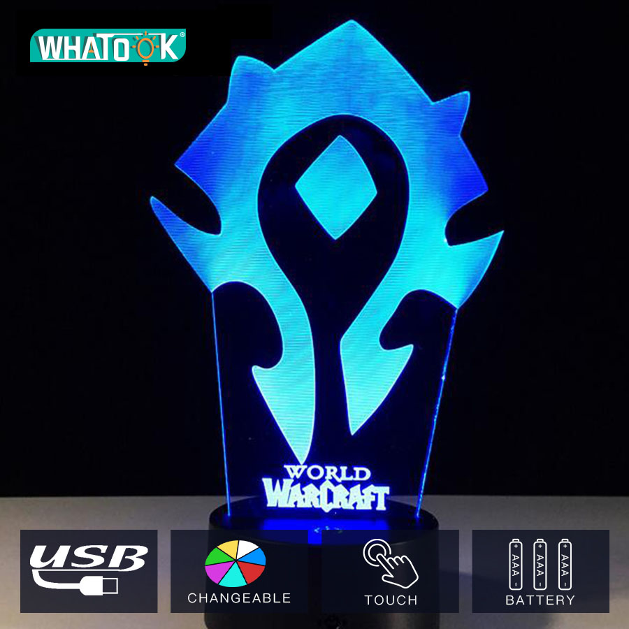 3D Illusion Night Light WOW World of Warcraft Tribal Signs USB Desk Table Lamp Kiddie Kids Children Family Holiday Xmas Gift3D Illusion Night Light WOW World of Warcraft Tribal Signs USB Desk Table Lamp Kiddie Kids Children Family Holiday Xmas Gift