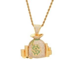 Шикарная сумка для денег KING CZ, кулон Биткоин, золотой, серебряный цвет, розовое золото, микро проложенный кубический цирконий, Панк ювелирны...