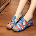 Embroidery Cloudy Hollow Out Slip On Canvas Vintage Flat Shoes Spring Autumn New Retro Style Women Shoes Driving Loafers Zapatos