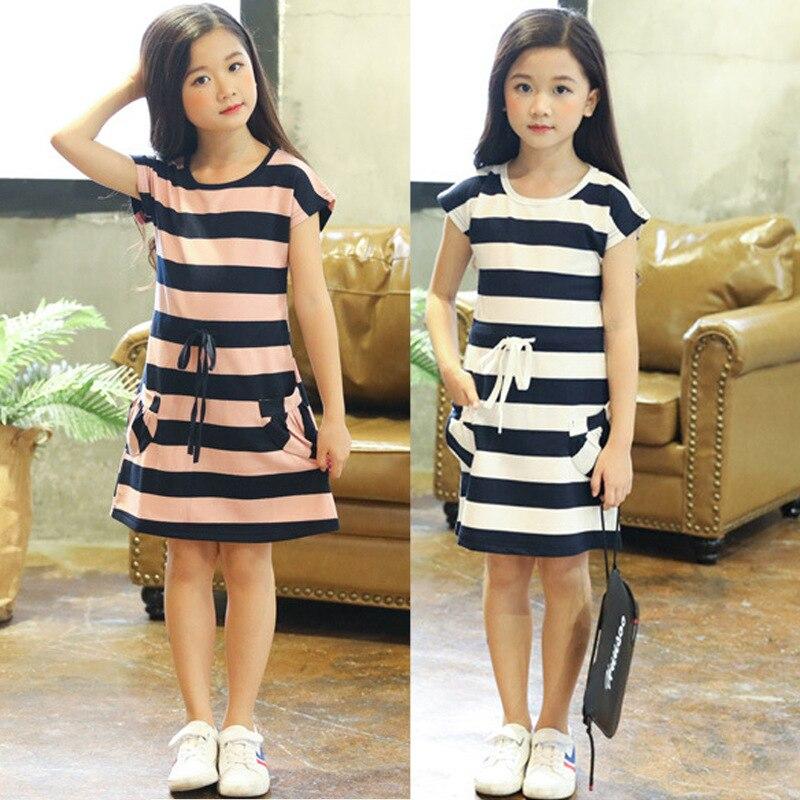 Crianças vestidos para meninas algodão listrado casual meninas vestido de verão 3 4 5 6 7 8 9 10 11 12 ano crianças da criança adolescente roupas