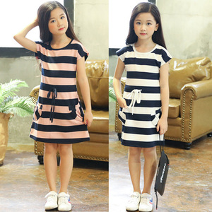 Kids Dresses for Girls Cotton Striped Casual Girls Summer Dress 3 4 5 6 7 8 9 10 11 12 Year Children Toddler Teen Clothing(China)