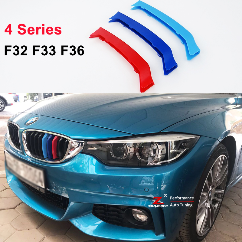 For 2014-2017 BMW 4 series F32 F33 F36 420i 425i 428i 430i 435i 440i 3D M motorsport Front Grille Strip grill Cover Stickers 2pcs new style m performance side skirt sill decal stripe vinyl sticker for bmw 4 series f32 f33 420i 428i 435i