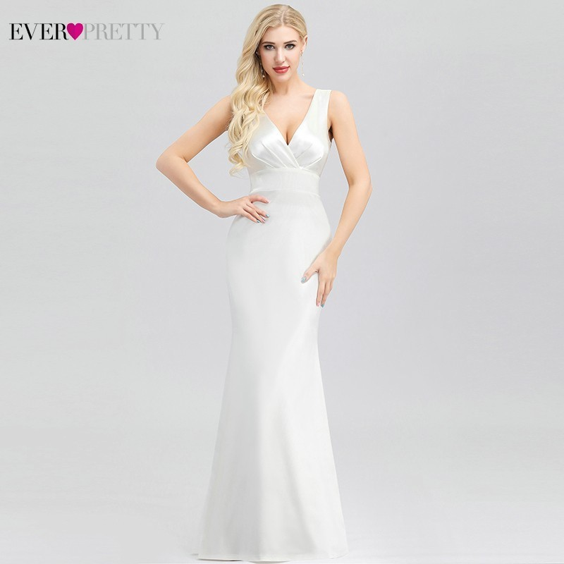Elegant White Satin Wedding Dresses Ever Pretty EP00965WH Mermaid V-Neck Sleeveless Formal Bride Dresses Vestido De Noiva 2019