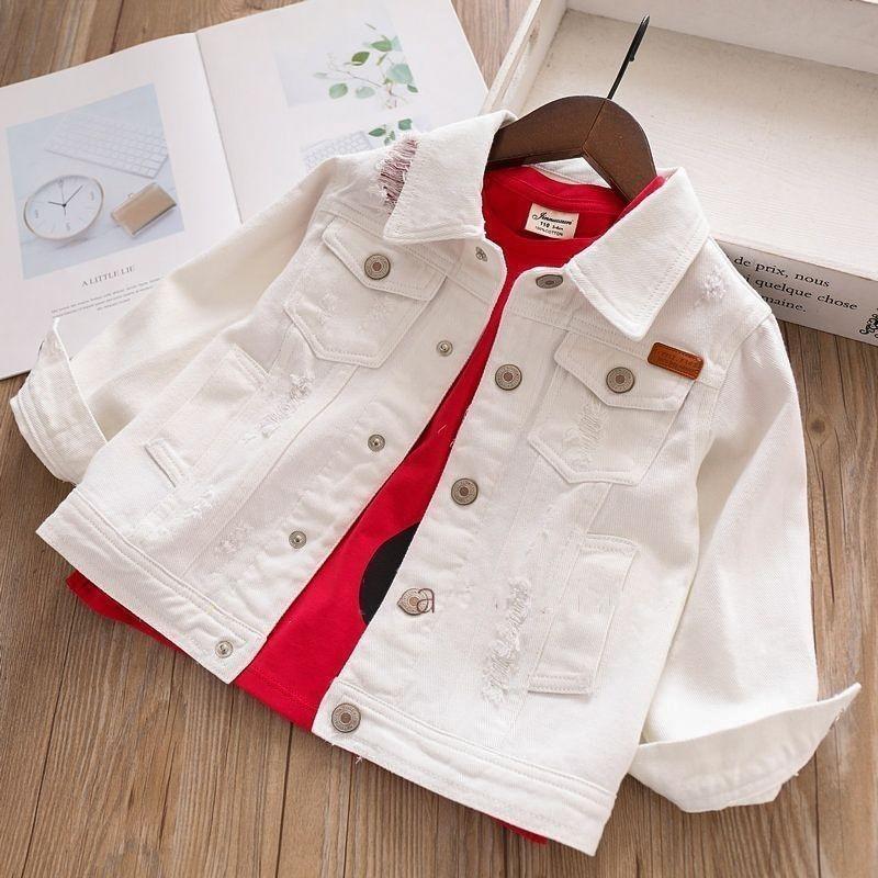 wholesale white jeans Jacket for girls denim jackets kids coat baby pink children outerwear spring autumn
