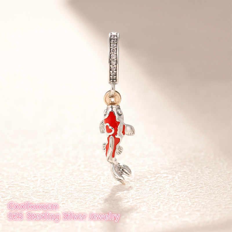 bb73281ef 100% 925 Sterling Silver Good Fortune Carp Charm beads Fit Original Pandora  Charms Bracelet DIY