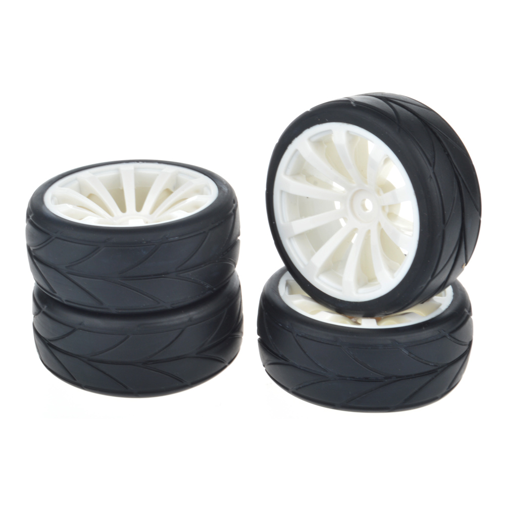 4Pcs 1/10 On Road Car Tires and Wheel Rims for HSP HPI 1:10 Rc On-Road Car white 1 8 buggy on road tires 17mm for kyosho hobao hsp hpi 4pcs tires