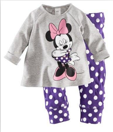 100% cotton,kids girl's 2 pc sets home wear,cartoon minnie mouse purple polka dot pajamas/sleep wear 2-7T free shipping