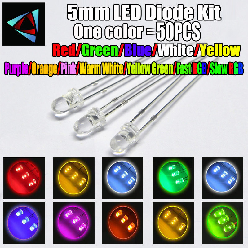50pcs 12 colors <font><b>5mm</b></font> <font><b>LED</b></font> Diode Kit <font><b>3V</b></font> Set Light Emitting Warm White Green Red Blue Yellow Orange Purple UV Pink RGB FAST SLOW image