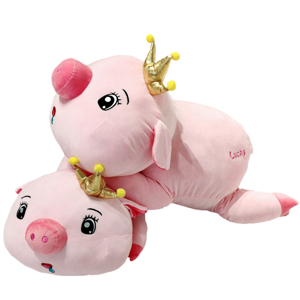 Babiqu 1pc 45cm Super Kawaii Pink Crown Pig Cute Staffed Animal Plush Toys Soft Cartoon Pillow Lovely Plush Doll for Kids Gifts