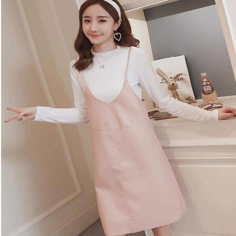 Maternity Clothes Pregnant Women Strap Dress Suit Womens New Korean Fashion Long-sleeved Loose Two-piece Pregnant Women dresses