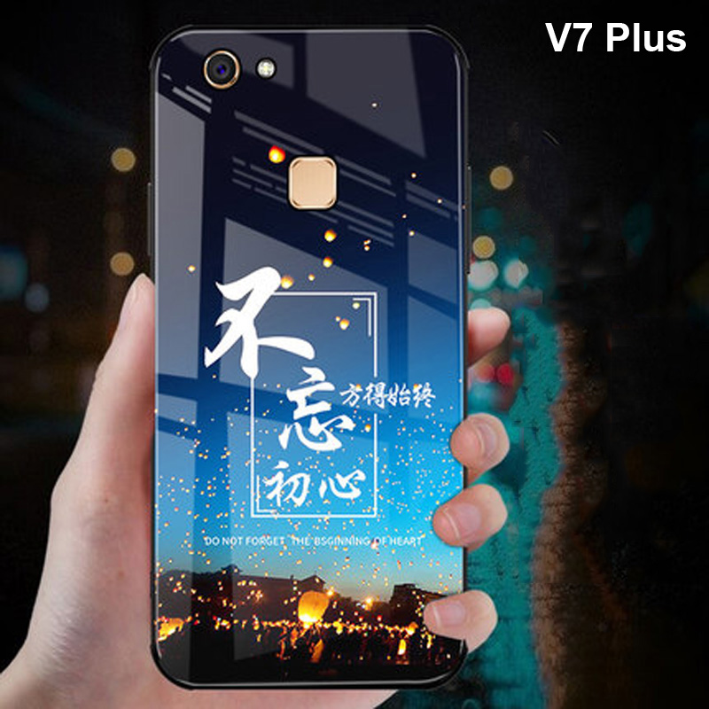 Starry star Pattern 9H hard Tempered Glass <font><b>Case</b></font> For <font><b>Vivo</b></font> V7 Plus Phone Bags <font><b>Case</b></font> For <font><b>Vivo</b></font> V7 <font><b>V7Plus</b></font> Plus Phone Back Cover image