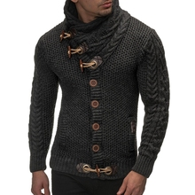 Sweater Cardigan Men Brand Casual Slim Fit Male Sweaters Horns Buckle Thick Hedging Turtleneck MenS New