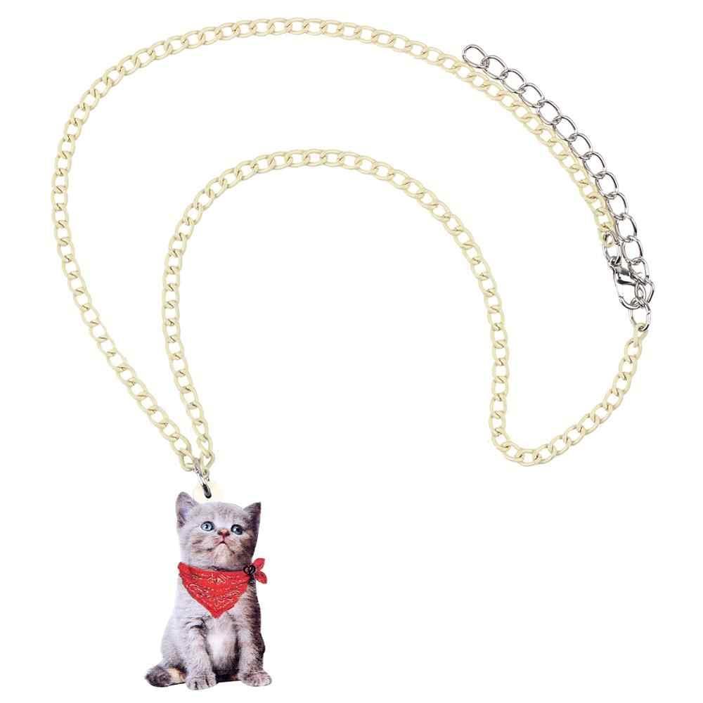 Bonsny الاكريليك الأحمر وشاح القط قلادة قلادة سلسلة المختنق لطيف الحيوان الحيوانات الأليفة مجوهرات للنساء الفتيات الاطفال سحر الكثير اكسسوارات