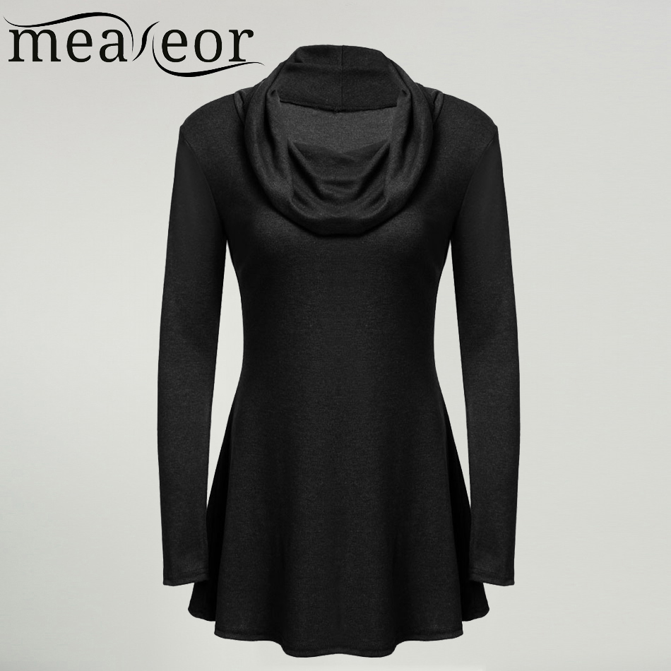 Meaneor brand women long t shirt casual long sleeve draped for Long sweaters and shirts
