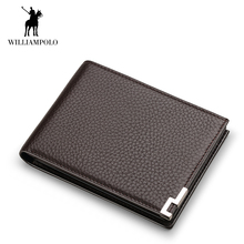 WILLIAMPOLO New Genuine Leather Men Wallet Slim Thin Business Male Purse Bifold Card Holder Short Wallet Metal Angles Notecase