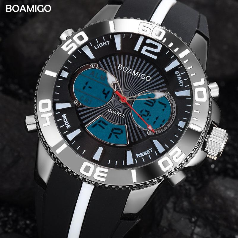 Men Sports Watches BOAMIGO Brand Men Digital Watch Analog LED Quartz Wristwatch Rubber Band  30M Waterproof Clock Reloj Hombre
