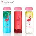 Transhome Flamingo botella de agua 500 ml botella de plástico para botellas de agua con Infusor de té deportes botella de agua potable botella tazas