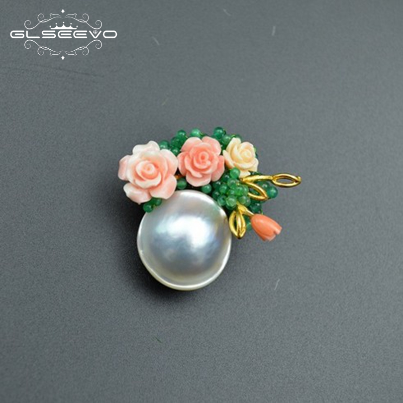 GLSEEVO Natural Fresh Water Pearl Brooch Pins Flower Brooches Gift For Women Pendant Dual Use Fine Jewelry GO0048 amxiu customized dual use brooch and pendant natural fritillary natural pearl brooches flower shape gold plated pins for women