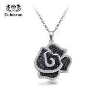 Eulonvan 925 Sterling Silver Black Flower Chain Necklaces & Pendants For Women Fashion Female Jewelry Accessories Collier S3791