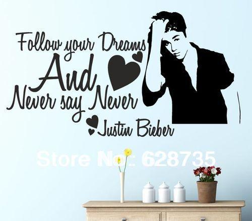 Frete Grátis Never Say Never Justin Bieber Meninas Da Parede Da Sala  Decalques, Decalques Da Part 25