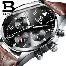Famous Brand Switzerland Men Sports Watches Binger Quartz Wristwatch 3ATM Waterproof Outdoor Dress Watches Military Watch