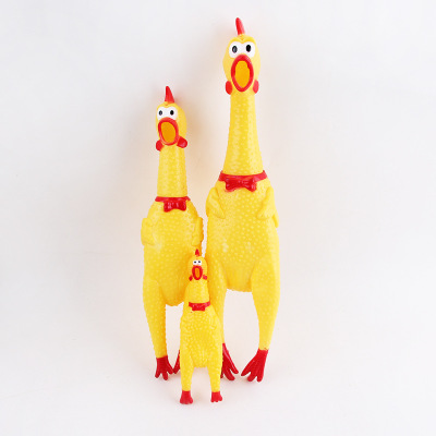 Pet Dog Toy Yellow Screaming Rubber Chicken Squeak Chew Gift Shock Sound Toys For puppy Pet Products Accessories Supplies S/M/L