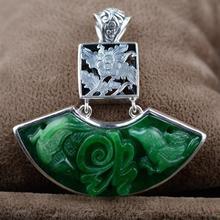 925 пробы серебряные полые цветы кулон натуральный зеленый нефрит Китайский слово Благословение гравировкой амулет для женщин Сдвиг удача