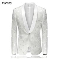 White Embroidered Rose Floral Tuxedos Blazer Men Wedding Dresses Mens Stage Jackets For Singers Fashion Blazer Slim Fit M 4XL