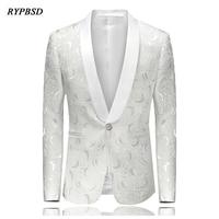 White Embroidered Rose Floral Tuxedos Blazer Men Wedding Dresses Mens Stage Jackets For Singers Fashion Blazer Slim Fit M 4XL