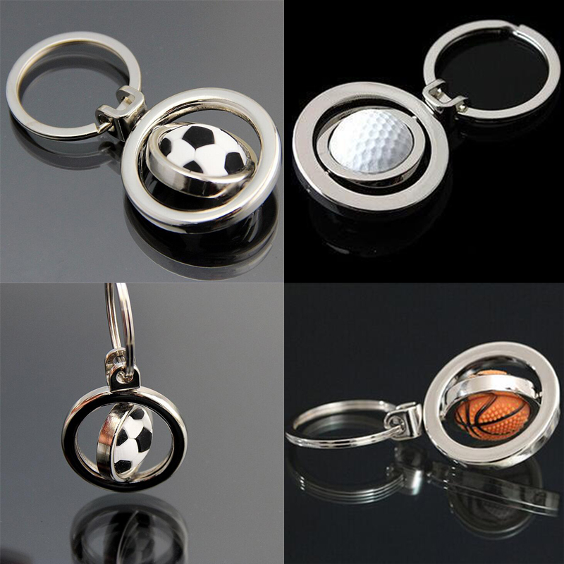 FREE DHL SHIPPING 50pcs/lot New Hot Sale Spinning Football Basketball Golf Keychains Metal Swirling Soccer Keyrings for Gifts